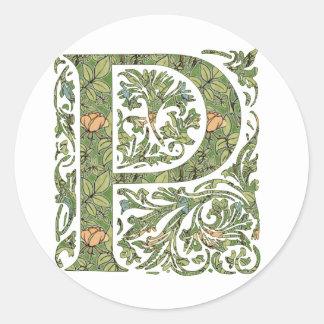 P Ornate Floral Leafy Monogram Classic Round Sticker