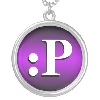 :P ~ Sticking Tongue Out Emoticon Purple Necklace