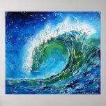 © P Wherrell Fine art oil painting wave ocean sea Poster