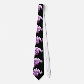 © P Wherrell Pink orchid on black background Tie