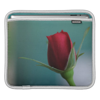 © P Wherrell Stylish trendy red rose on turquoise iPad Sleeves