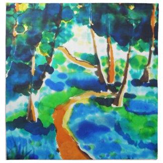 © P Wherrell Winding path woods silk painting Napkin