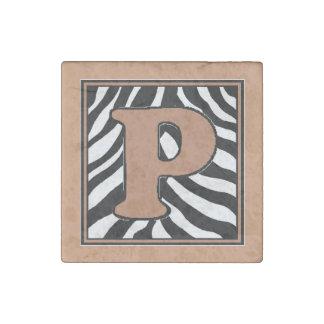P-Zebra Skin Monogram Stone Magnet