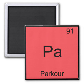Pa - Parkour Funny Chemistry Element Symbol Tee Square Magnet