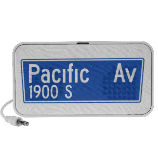 Pacific Avenue, Los Angeles, CA Street Sign Notebook Speakers