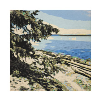 Pacific Beach woodblock style Canvas Print