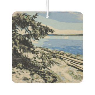 Pacific Beach woodblock style Car Air Freshener