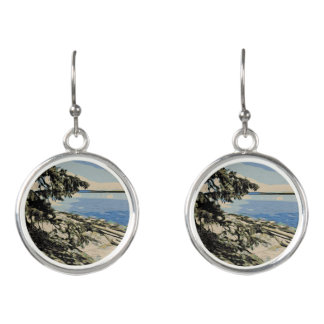 Pacific Beach woodblock style Earrings
