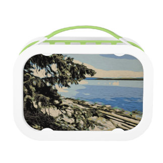 Pacific Beach woodblock style Lunch Box