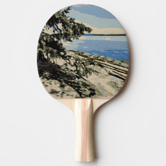 Pacific Beach woodblock style Ping Pong Paddle