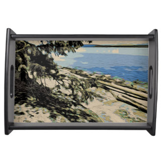 Pacific Beach woodblock style Serving Tray