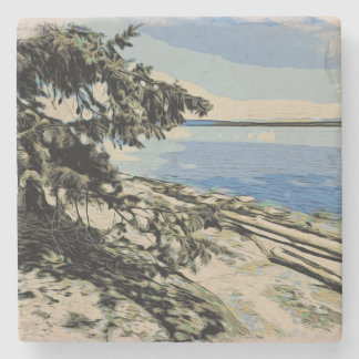 Pacific Beach woodblock style Stone Coaster