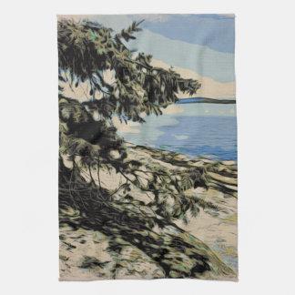 Pacific Beach woodblock style Tea Towel