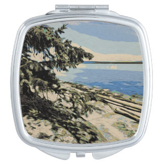 Pacific Beach woodblock style Travel Mirror