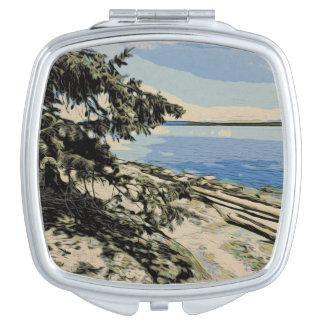 Pacific Beach woodblock style Vanity Mirror