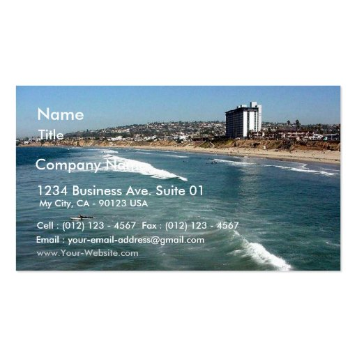 Pacific Beaches Waves Surfers Sand San Diego Ocean Pack Of Standard Business Cards