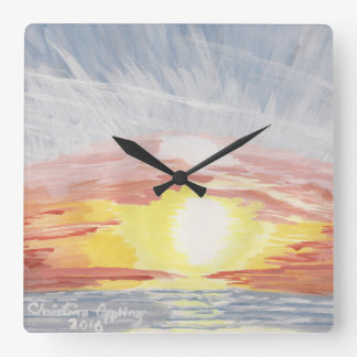 Pacific Blue Ocean Sunset  Square Acrylic Clock