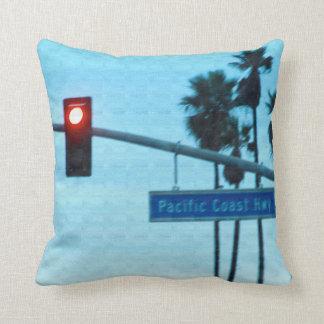 Pacific Coast Highway 1 Sign California Beach Sky Throw Cushions