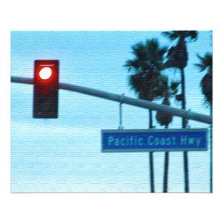 Pacific Coast Highway Sign California Beach Sky 11.5 Cm X 14 Cm Flyer