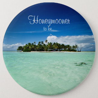 Pacific island with palm trees honeymoon button