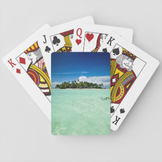 Pacific island with palm trees poker deck
