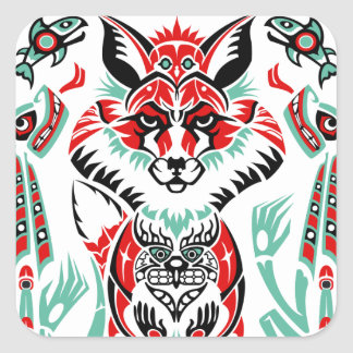 Pacific North Coastal Native American Indian Fox Square Sticker