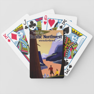 Pacific Northwest Rocky Mountains Vintage Travel Bicycle Playing Cards