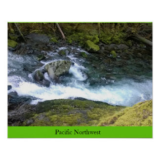 Pacific Northwest Rushing Water Poster