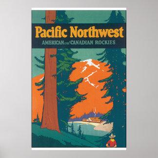 Pacific Northwest Vintage Travel Poster Artwork