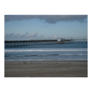 Pacific Ocean and the Ocean Beach Pier. Poster