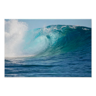 Pacific ocean big wave breaking poster
