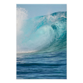 Pacific ocean big wave breaking vertical poster