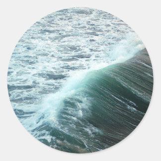 Pacific Ocean Blue Classic Round Sticker