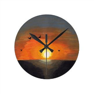 Pacific Ocean Dark Orange Sunset Round Clock