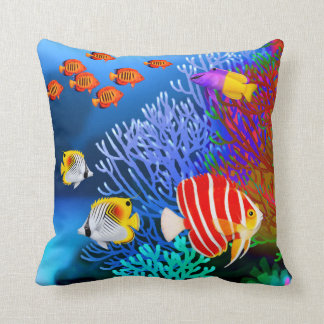 Pacific Saltwater Coral Reef Aquarium American MoJ Cushion