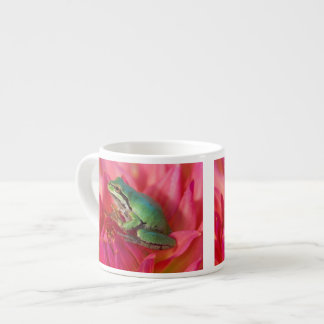 Pacific tree frog on flowers in our garden, 4 espresso mug