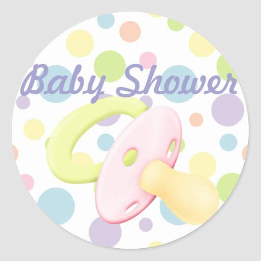 Pacifier & Polka Dots Baby Shower Sticker/seal