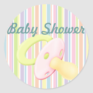 Pacifier & Stripes Baby Shower Sticker/seal