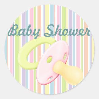 Pacifier & Stripes Baby Shower Sticker/seal Round Sticker