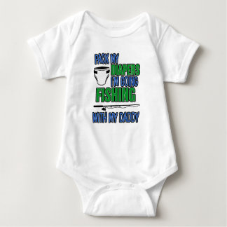 Pack my Diapers I'm Going Fishing with my Daddy Sh Baby Bodysuit