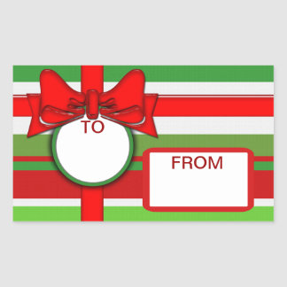 package gift tag  labels  to from with bow rectangular sticker