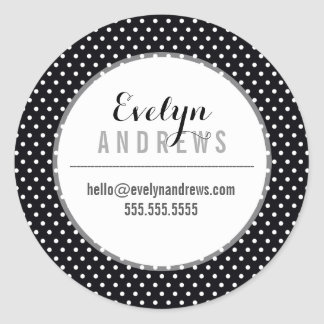 PACKAGING SIMPLE SPOT mini polka dot black white Round Sticker