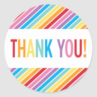 PACKAGING THANK YOU bold colorful rainbow letters Round Sticker