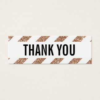 PACKAGING THANK YOU rose gold glitter stripe black Mini Business Card