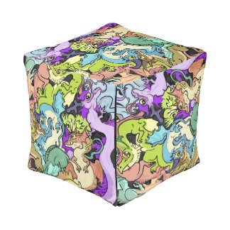 Packed in Party Dragons Cube Pouf