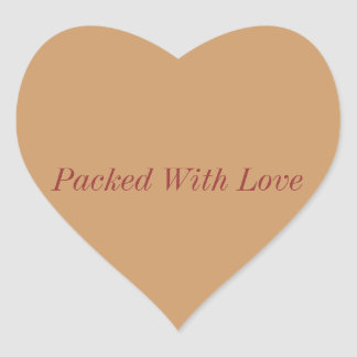 packed with love stickers, packaged with love heart sticker