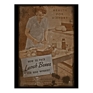 Packing Lunch Boxes WWII Postcard