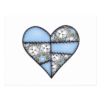 Padded Heart  Blue Postcard