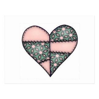 Padded Quilted Stitched Heart Peach-04 Postcard
