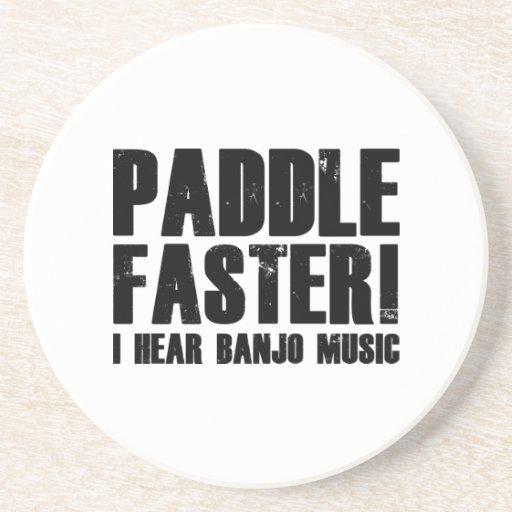 Paddle Faster I Hear Banjo Music Drink Coasters